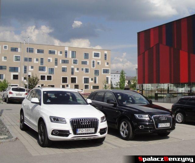 Audi Q5 3.0 TFSI i 2.0 TDI na parkingu hotelowym w Austrii