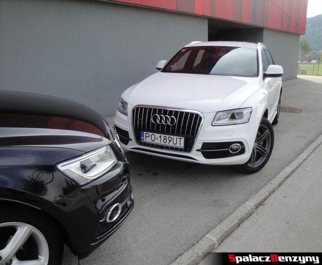 Audi Q5 3.0 TFSI i maska Q5 2.0 TDI na parkingu hotelowym