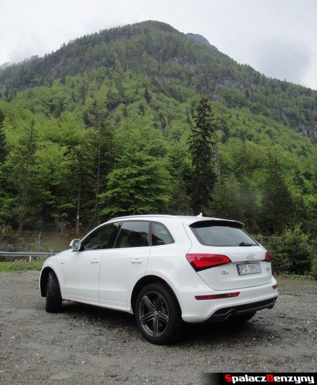 Audi Q5 3.0 TFSI na zjeździe w górach tył bok