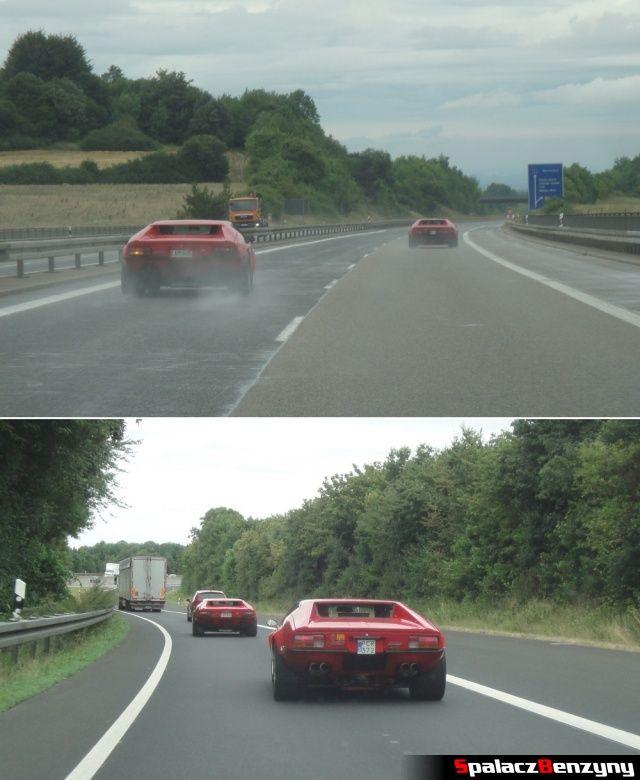 De Tomaso Pantera dwa auta na niemieckiej autostradzie