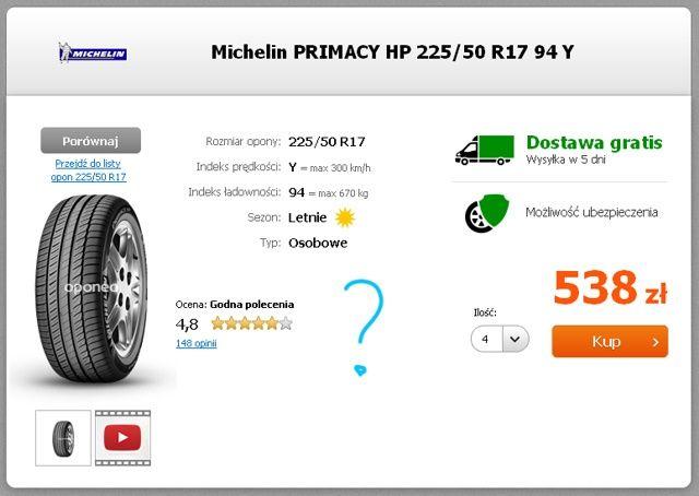 Etykieta Michelin Primacy HP