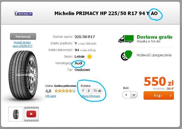 Etykieta Michelin Primacy HP Audi