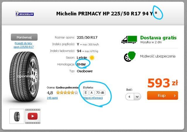 Etykieta Michelin Primacy HP BMW