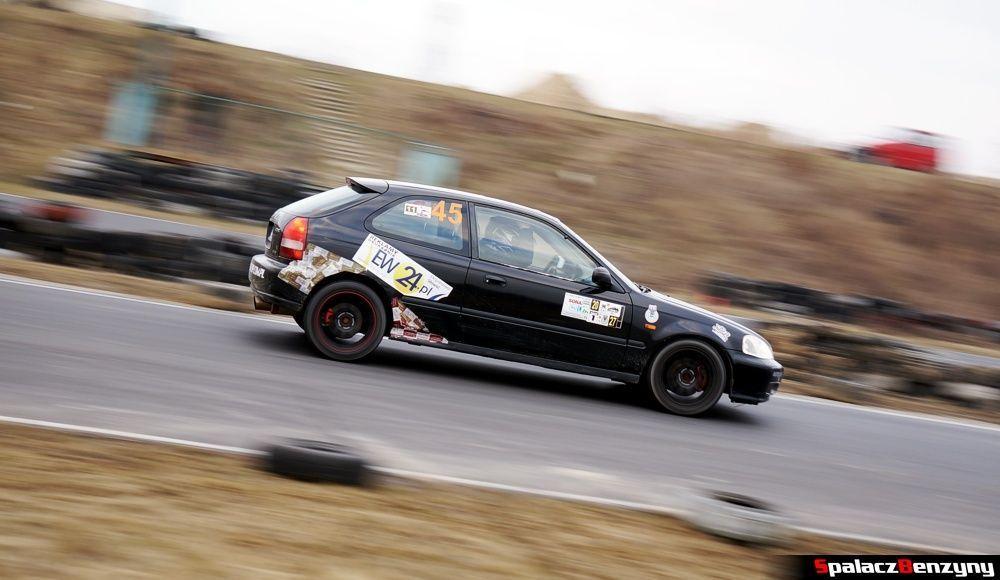Honda Civic czarna jzda na RS Kulig 2014 Tor Lublin