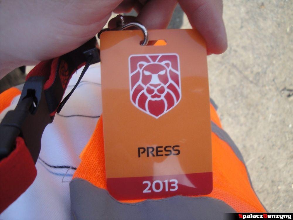 Identyfikator Press na Gran Turismo Polonia 2013
