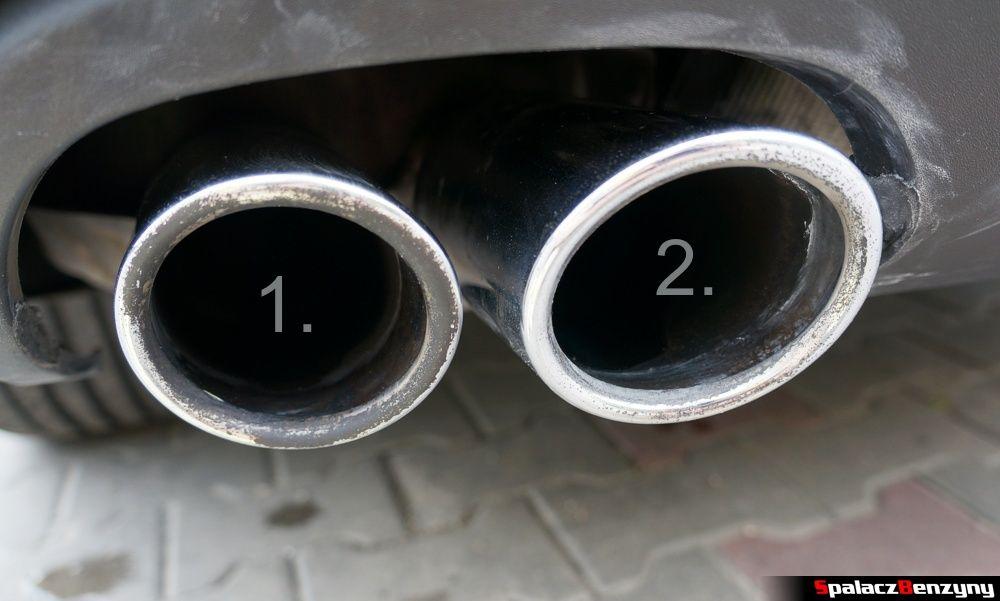 Końcówki wydechu póbnie umyte dwoma pastami w Audi A4