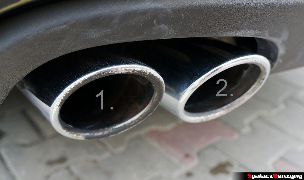 Końcówki wydechu różnie umyte dwoma pastami w Audi A4