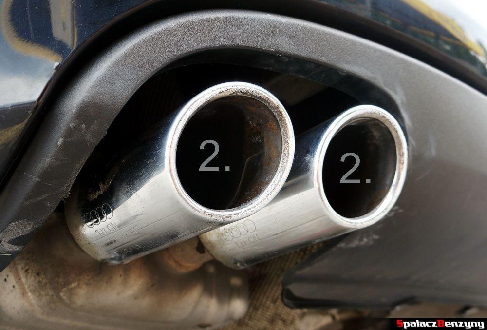 Końcówki wydechu umyte pastą Autosol w Audi A4