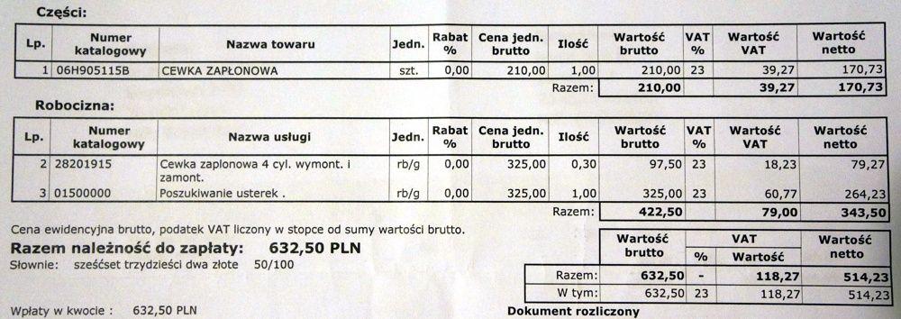 Kosztorys wymiana cewki w 2.0 TFSI Audi A4 B8