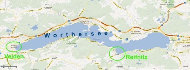 Mapa jeziora Worthersee w Austrii