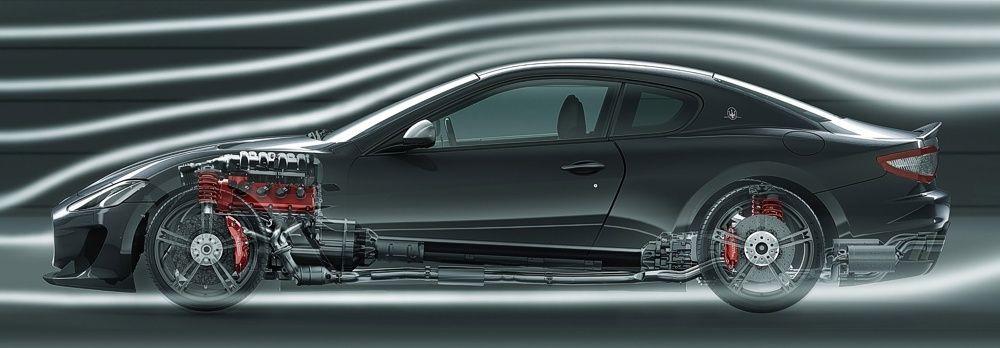 Maserati GranTurismo MC położenie napędu i silnika