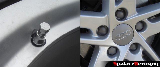 Metalowy wentyl i nakładki na śruby na kole do Audi A4