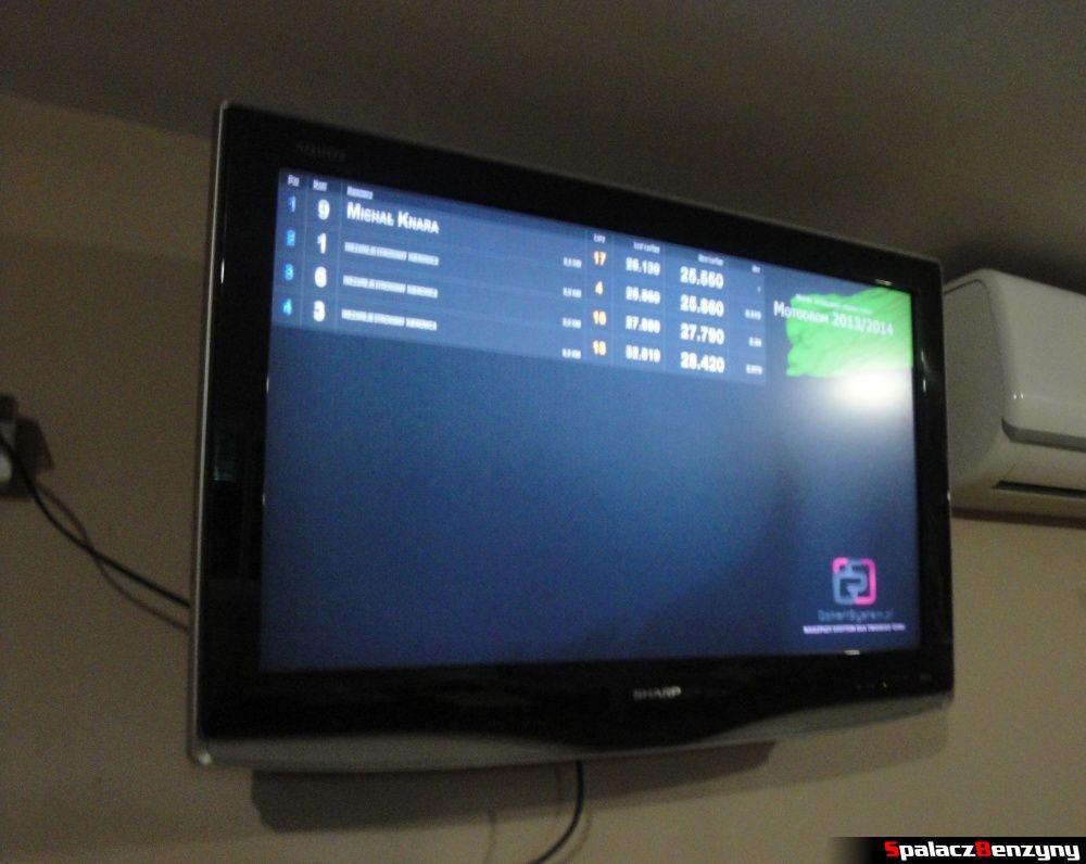 Monitor z wynikami na torze kartingowym Motodrom Kraków