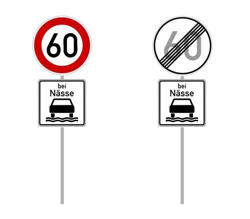 Ograniczenie prędkości w deszcze w Niemczech bei Nasse