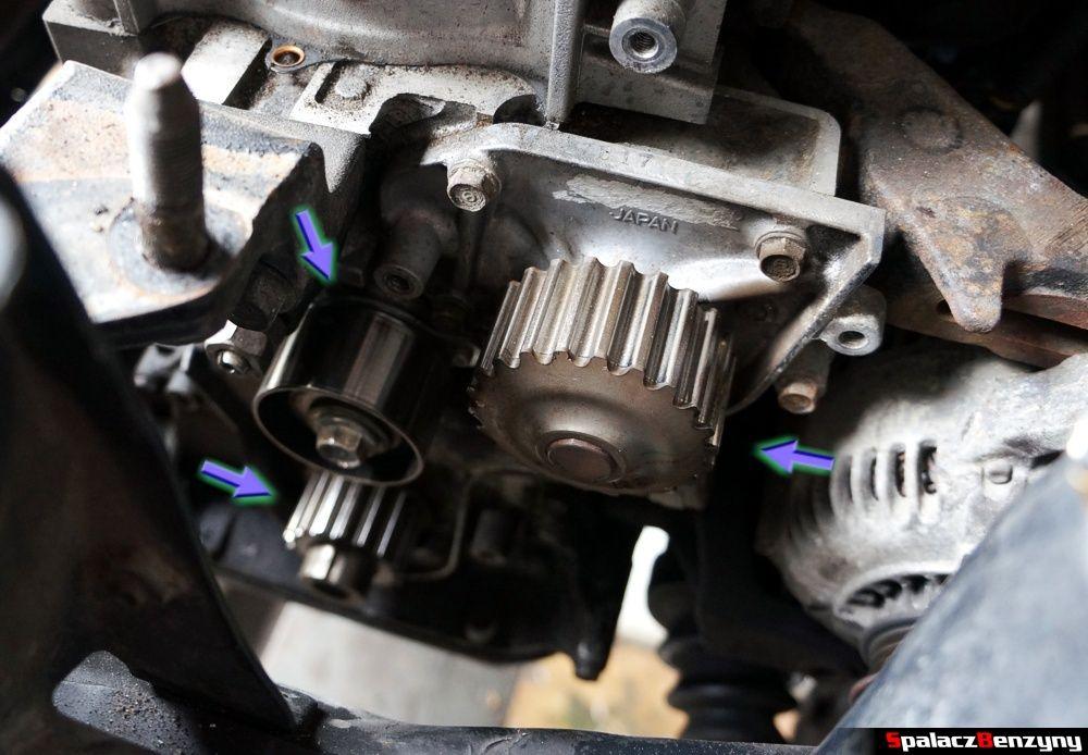 Pompa wody, napinacz i wał korbowy w Honda Civic