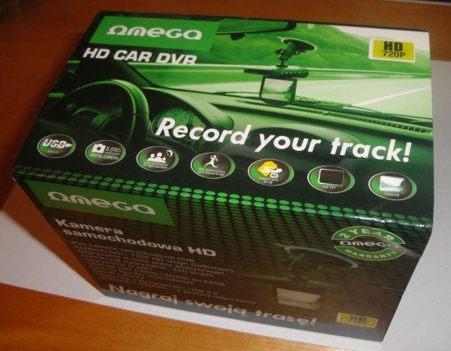 Pudełko rejestratora trasy Omega HD CAR DVR 720p