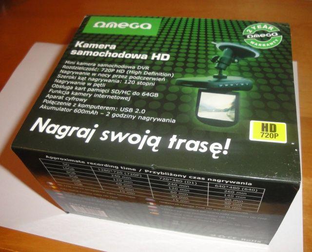 Pudełko w języku polskim rejestratora trasy Omega HD CAR DVR 720p