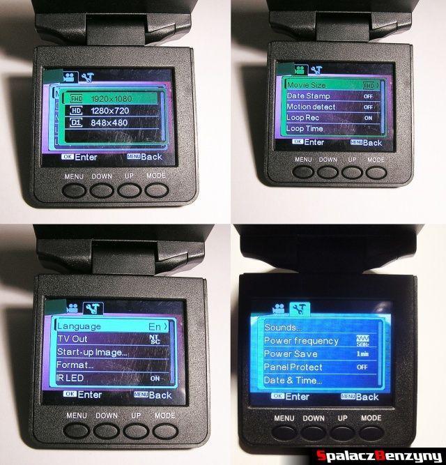 Rejestrator trasy HD CAR DVR 720p HDMI konfiguracja przez menu