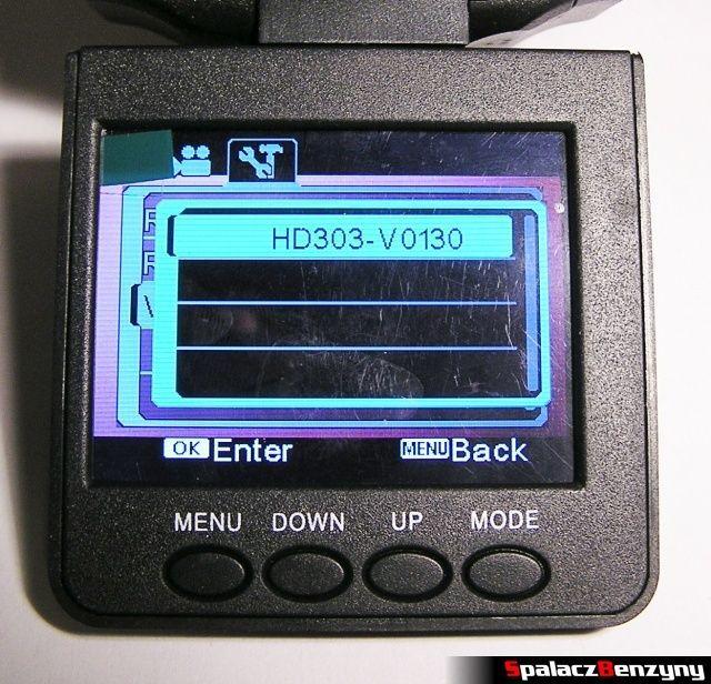 Rejestrator trasy HD CAR DVR 720p HDMI wersja oprogramowania