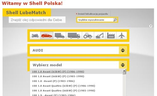 Shell LubeMatch wyszukiwarka