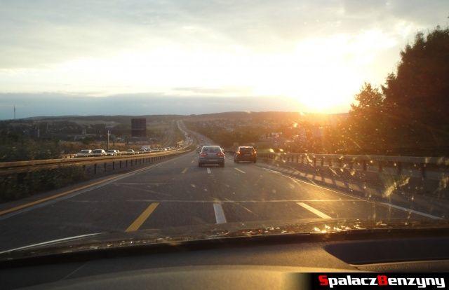 Słońce na remontowanej niemieckiej autostradzie