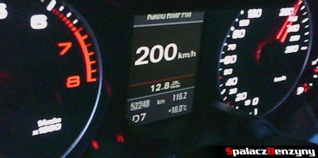 Spalanie benzyny 200 km h w 2.0 TFSI Audi quattro s-tronic