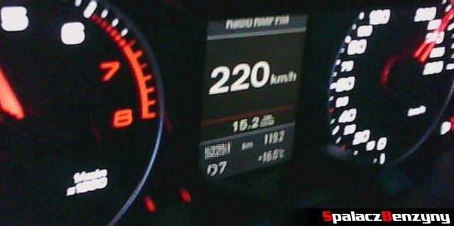 Spalanie benzyny 220 km h w 2.0 TFSI Audi quattro s-tronic