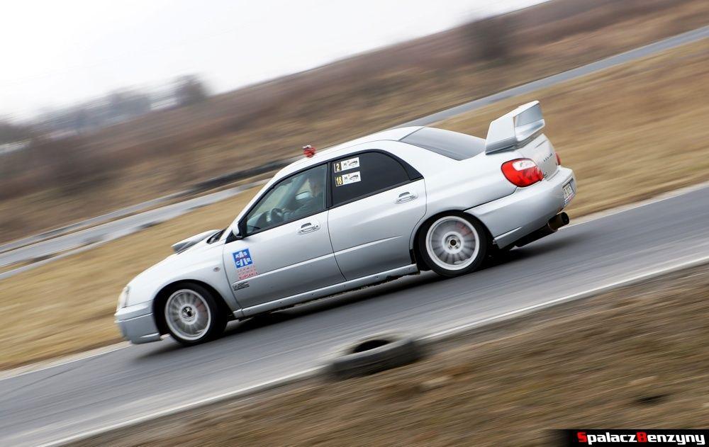 Subaru Impreza WRX srebrna na RS Kulig 2014 Tor Lublin