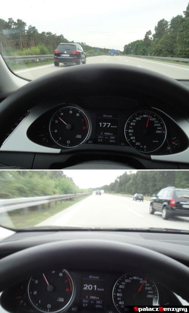 SUV VW na niemieckiej autostradzie