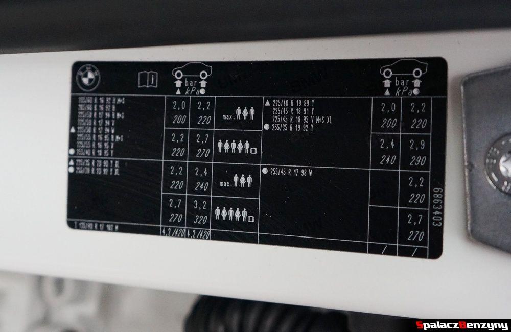 Tabliczka z ciśnieniami opon BMW 316i 2013