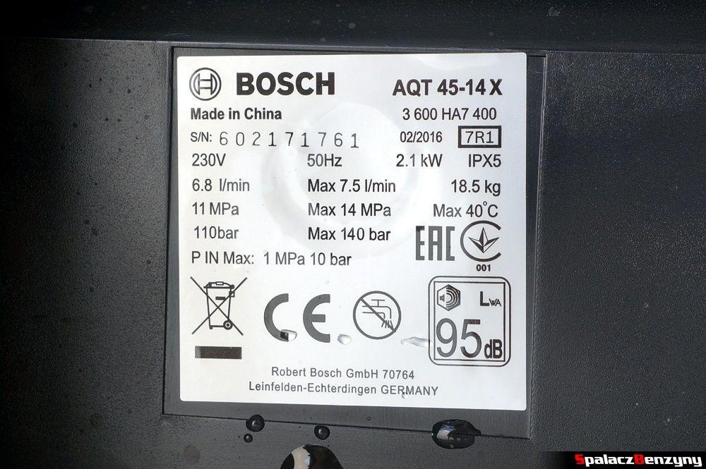 Tabliczka znamionowa Bosch AQT 45-14 X