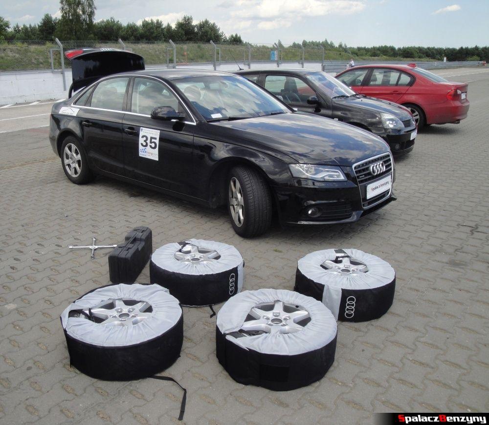 Zmiana kół na torze Audi A4