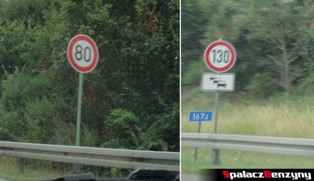 Znaki ograniczeń na niemieckiej autostradzie