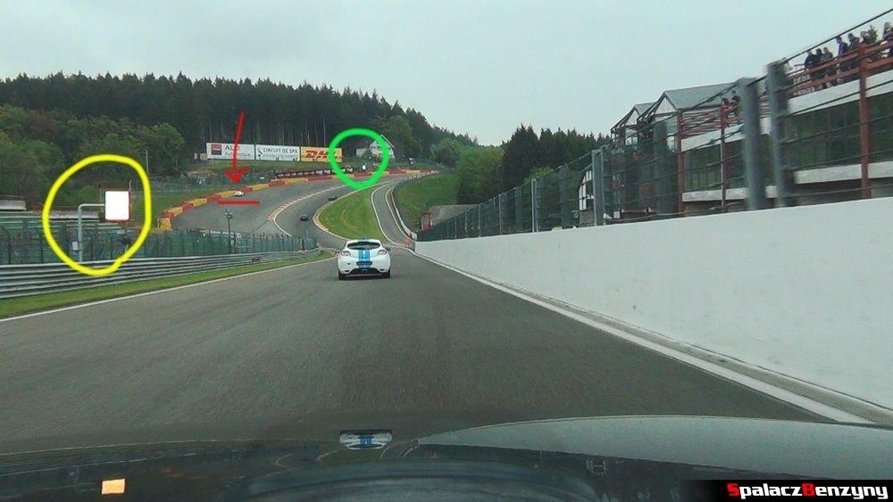 Żółta i zielona flaga na Circuit de Spa-Francorchamps