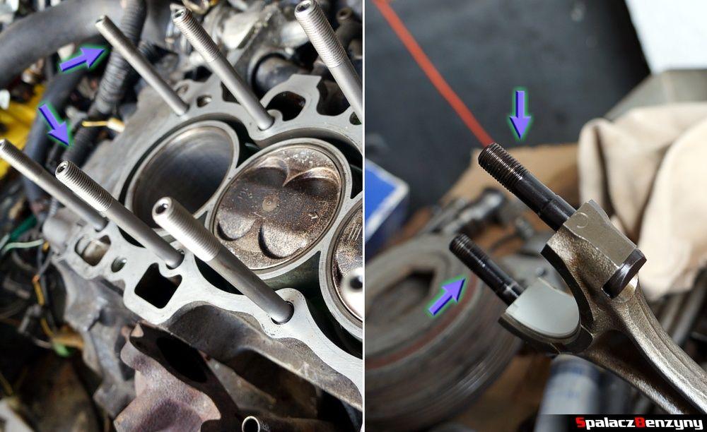 Szpilki w głowicy i na korbowodach Honda Civic